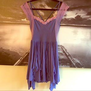Free People purple lace strap dress tunic Small